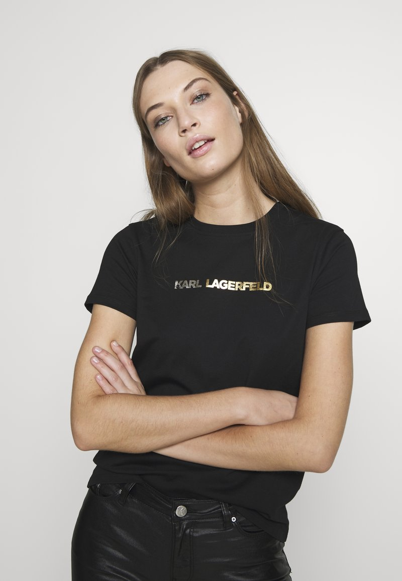 KARL LAGERFELD - IKONIK LOGO - Camiseta estampada - black