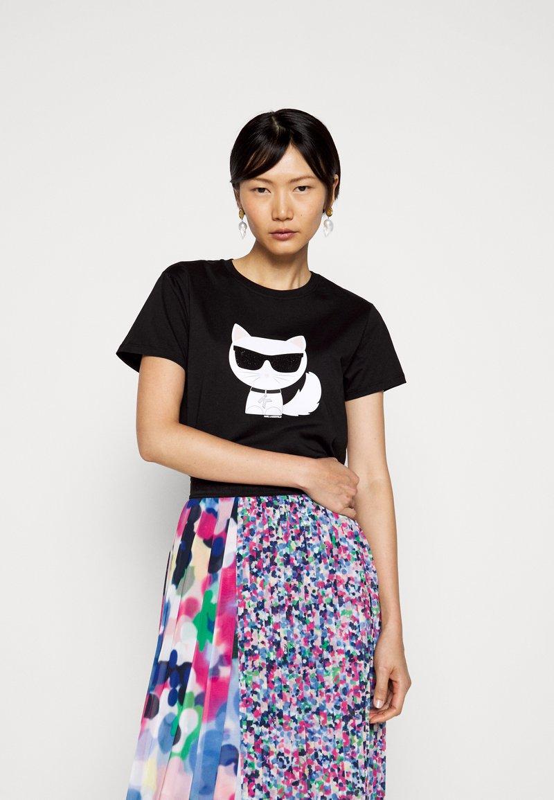 KARL LAGERFELD - IKONIK CHOUPETTE - T-shirt imprimé - black