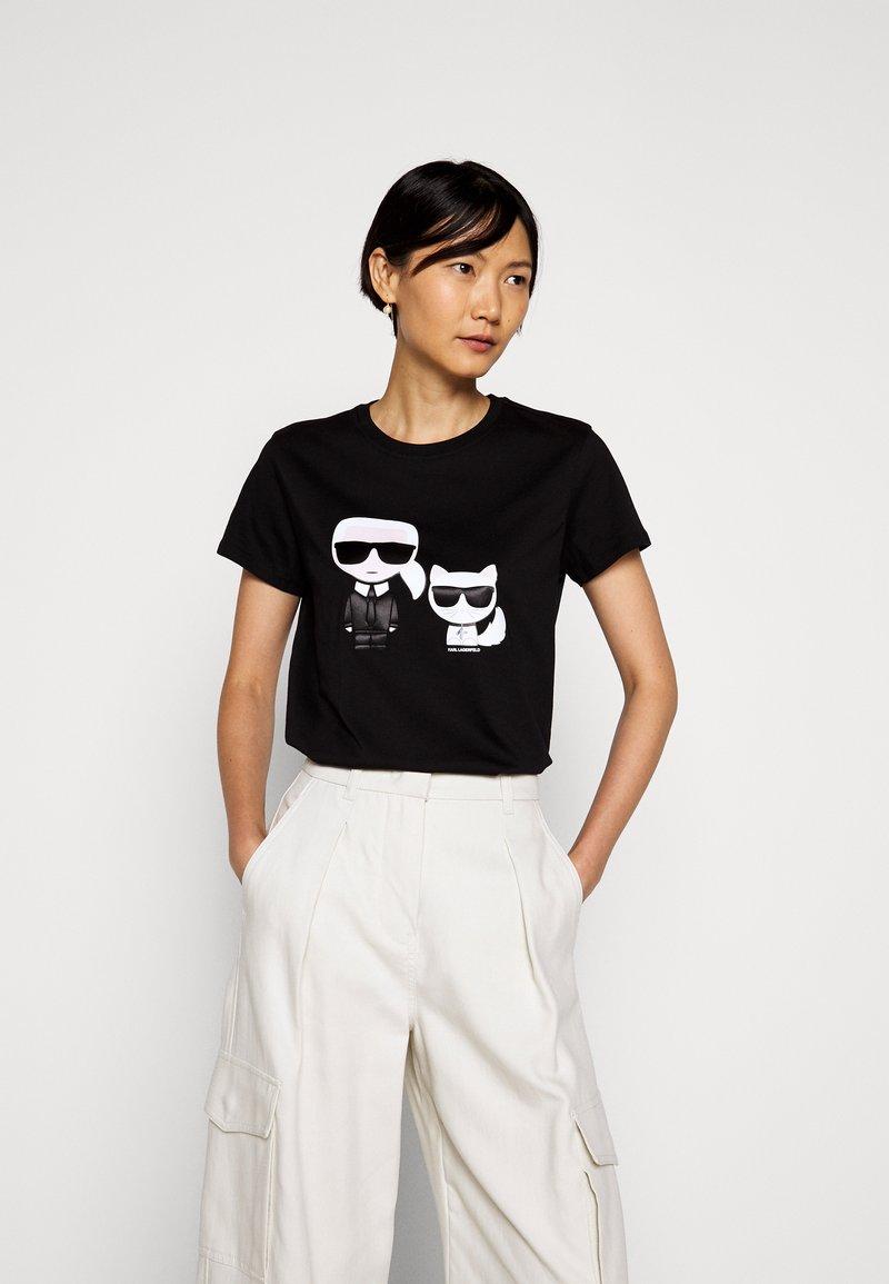 KARL LAGERFELD - IKONIK CHOUPETTE TEE - T-shirt z nadrukiem - black