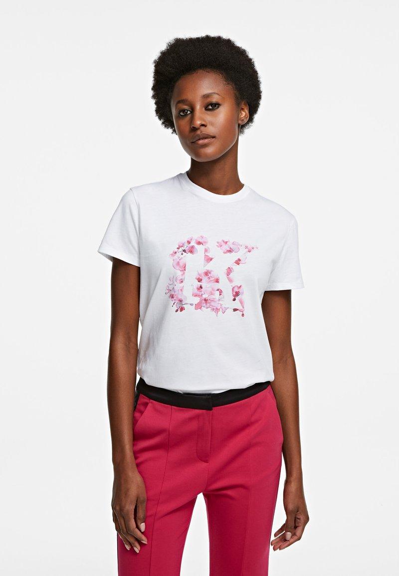 KARL LAGERFELD - ORCHID K PRINT - T-shirt z nadrukiem - white