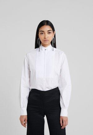 PLEATED PLASTRON POPLIN - Camisa - white