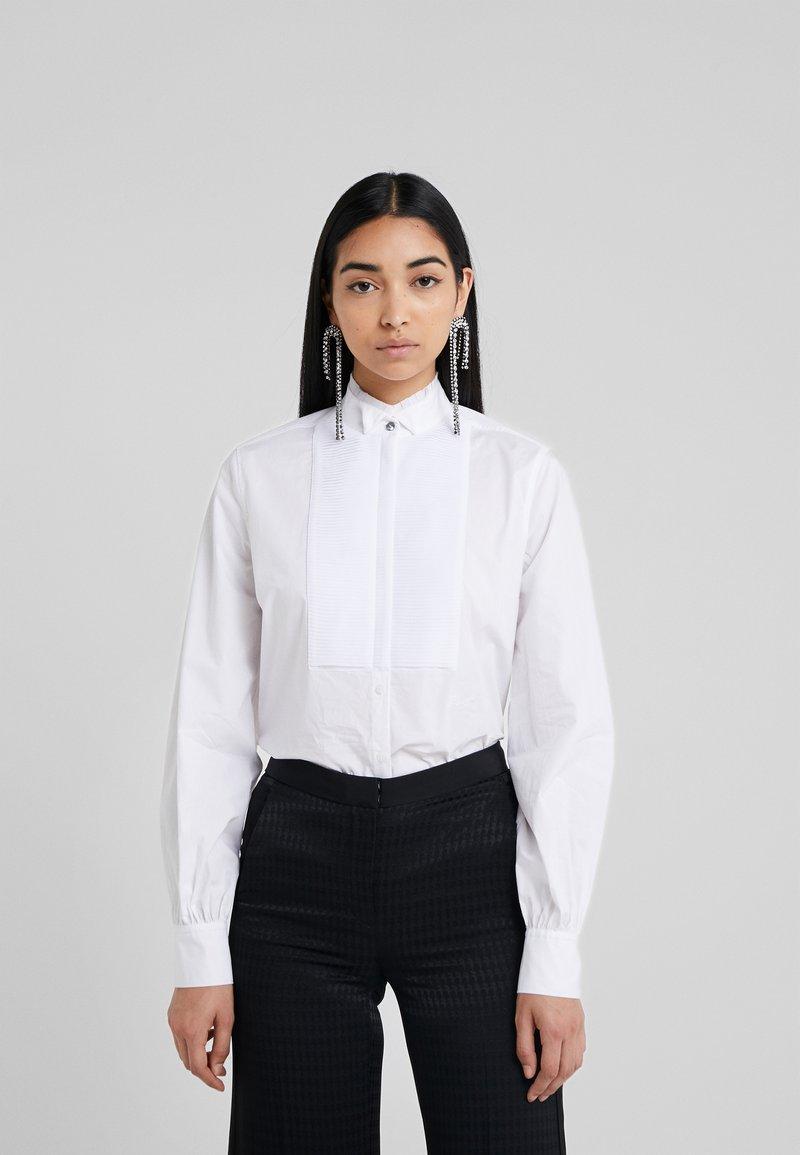KARL LAGERFELD - PLEATED PLASTRON POPLIN - Button-down blouse - white