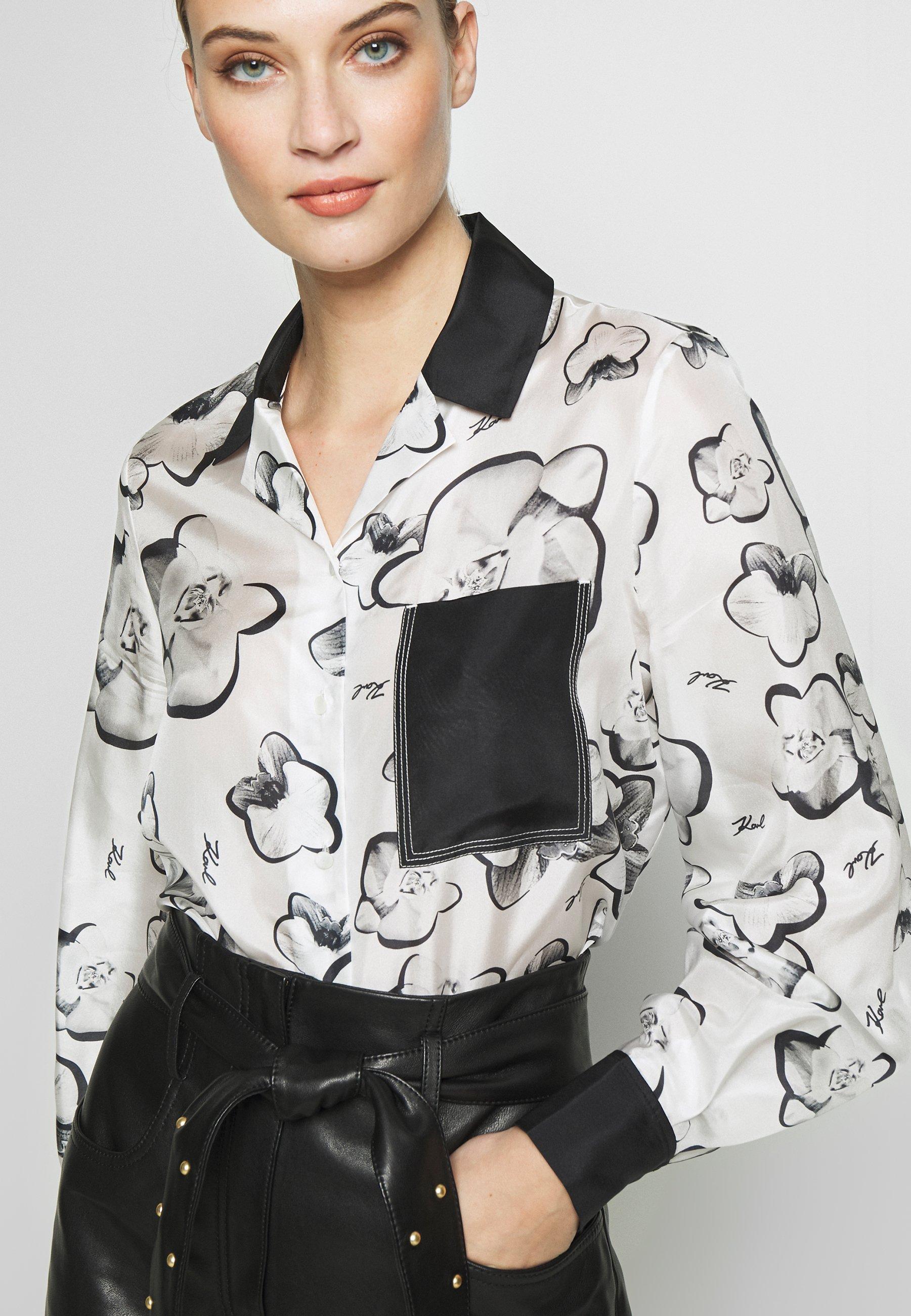 KARL LAGERFELD ORCHID PRINT BLOUSE - Koszula - black