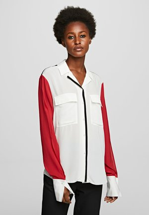 KARL PIXEL COLOURBLOCK  - Button-down blouse - white/black/red