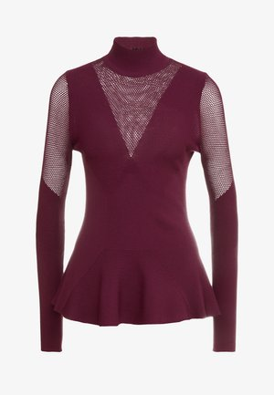 POINTELLE DETAIL - Strickpullover - burgundy