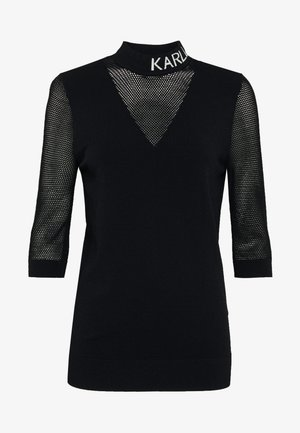 POINTELLE LOGO MOCKNECK - Long sleeved top - black