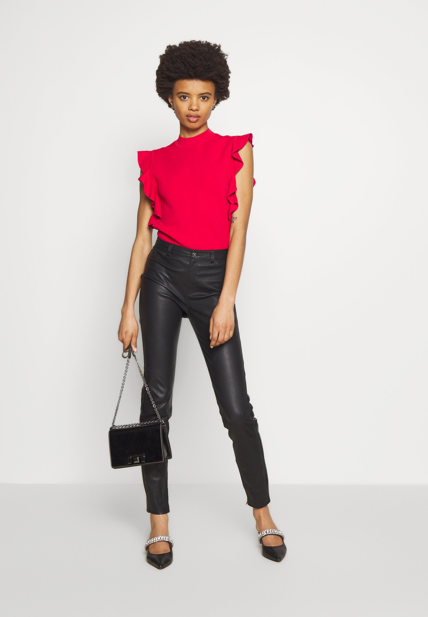Karl Lagerfeld Colorblock Ruffle Crop - T-shirts Print Red