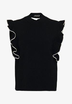 COLORBLOCK RUFFLE CROP - T-shirt z nadrukiem - black