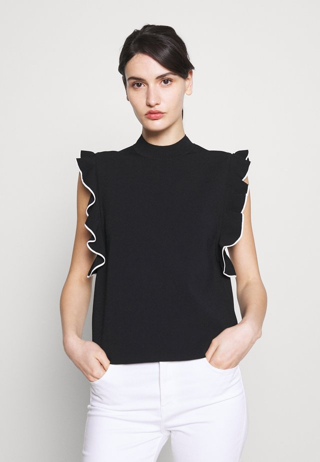 COLORBLOCK RUFFLE CROP - T-shirt med print - black