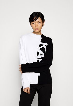 PUFFY SLEEVE LOGO - Sweter - black/white