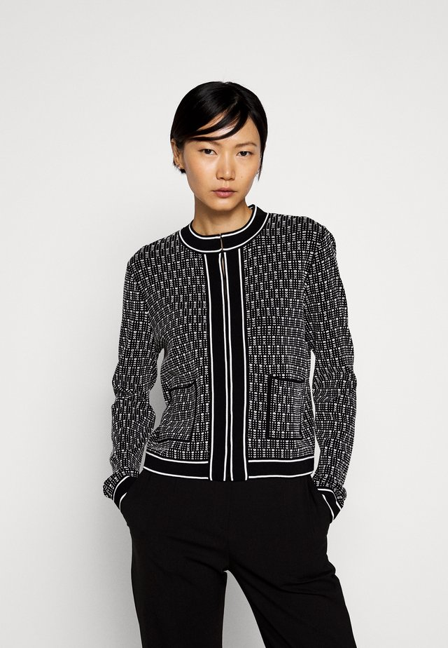 TEXTURED CARDIGAN - Strickjacke - black/white