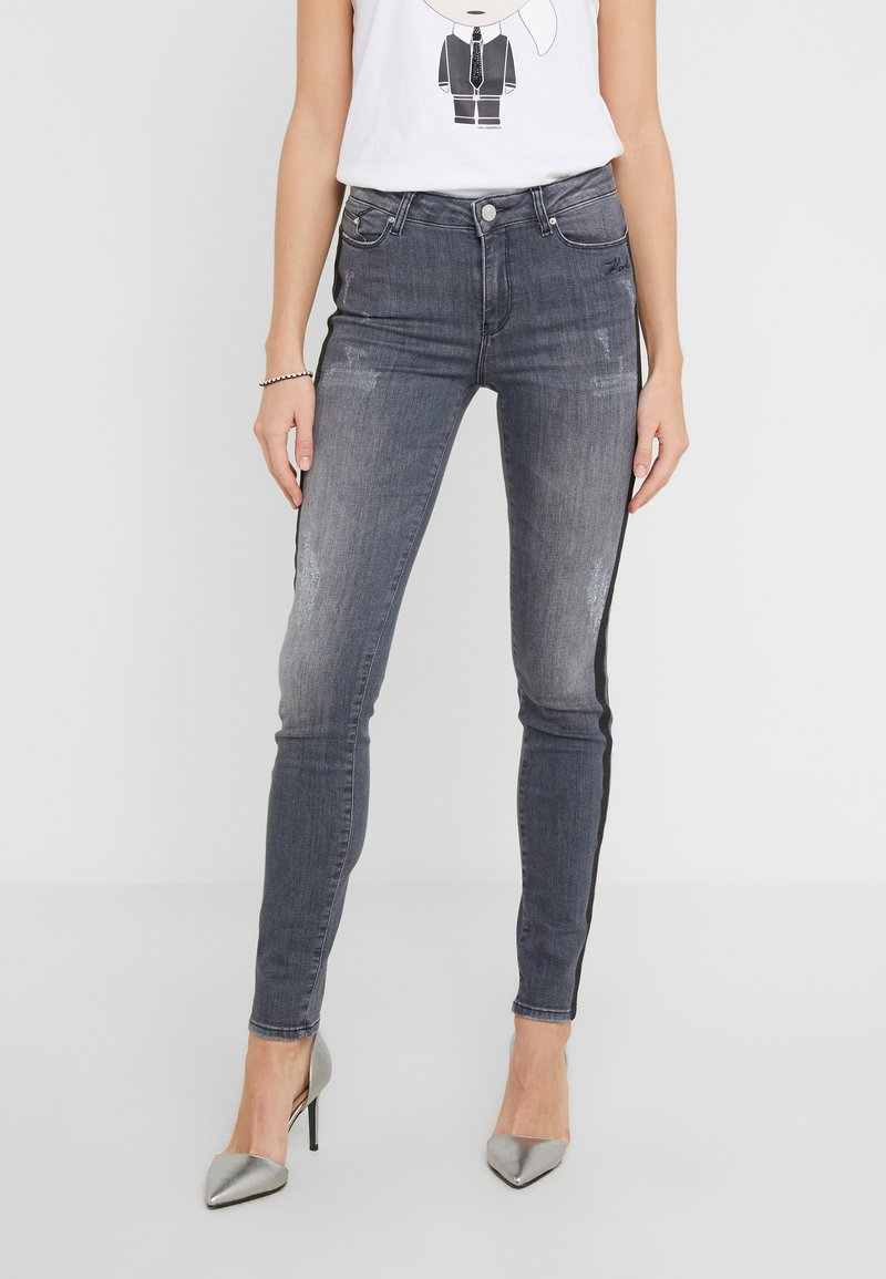 KARL LAGERFELD - SPARKLE STRIPES - Jeans Skinny Fit - grey denim
