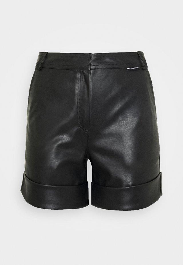 FAUX LEATHER SHORTS - Shorts - black