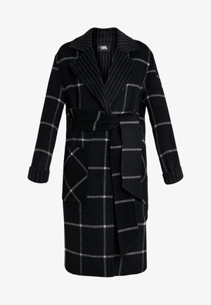 DOUBLE FACE WRAP COAT - Classic coat - black/gray