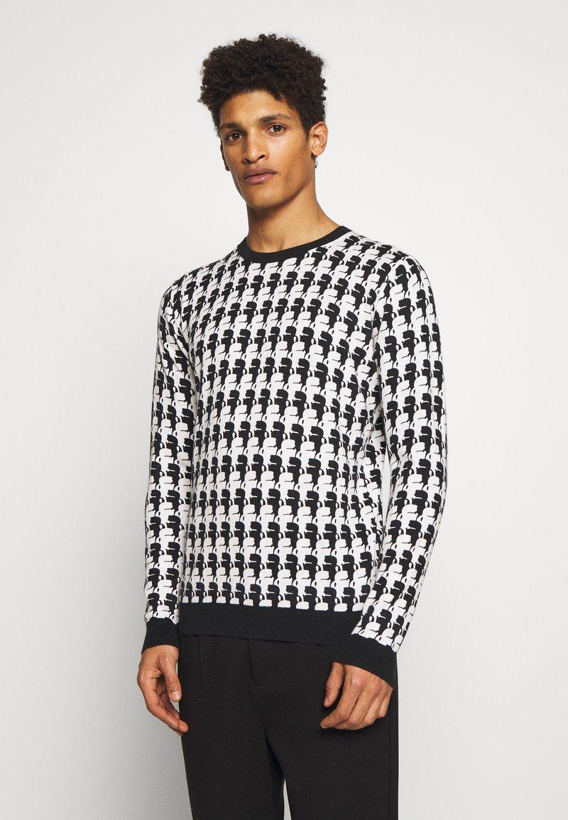 KARL LAGERFELD - KNIT CREWNECK - Pullover - black/white