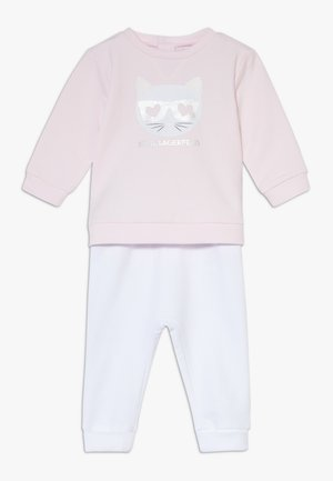 TROUSERS SET BABY - Mikina - white/pink