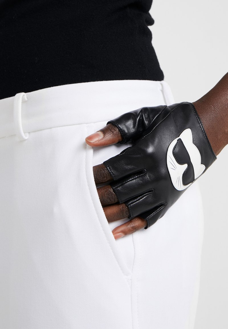 KARL LAGERFELD - IKONIK GLOVE - Fingerless gloves - black
