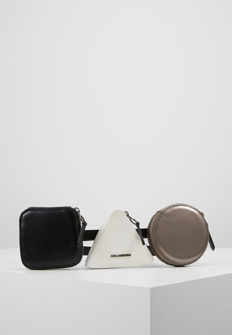 KARL LAGERFELD - BAUHAUS COIN PURSE BELT - Cinturón - black/white/gunmetal