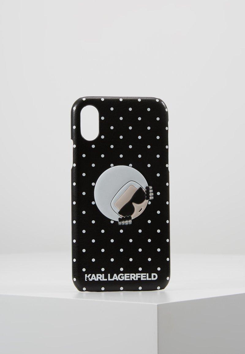 KARL LAGERFELD - POLKA IPHONE X CASE - Kännykkäpussi - black/white