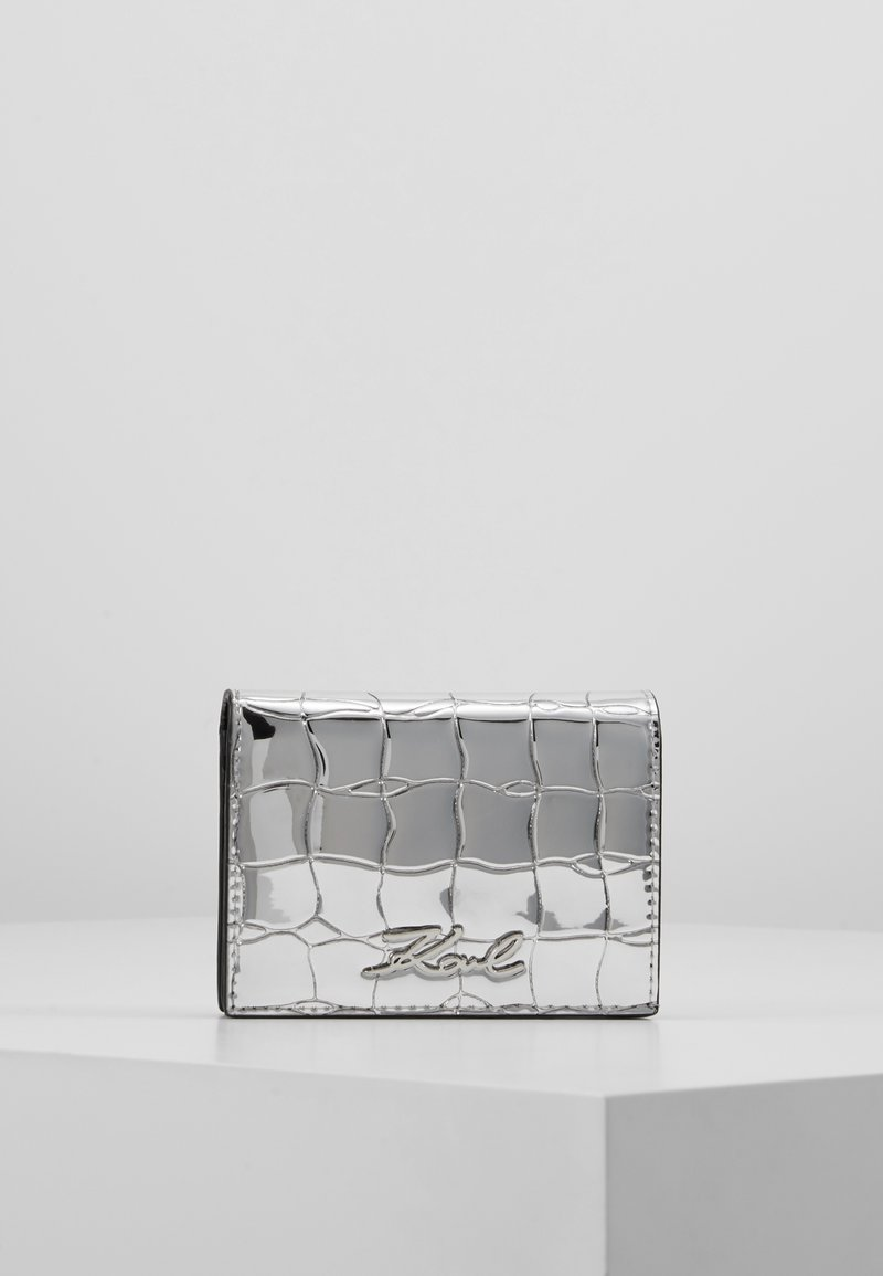 KARL LAGERFELD - SIGNATURE CROCO MINI WALLET - Wallet - silver