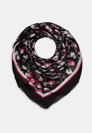 ALL OVER ORCHID SQUARE SCARF - Foulard - black