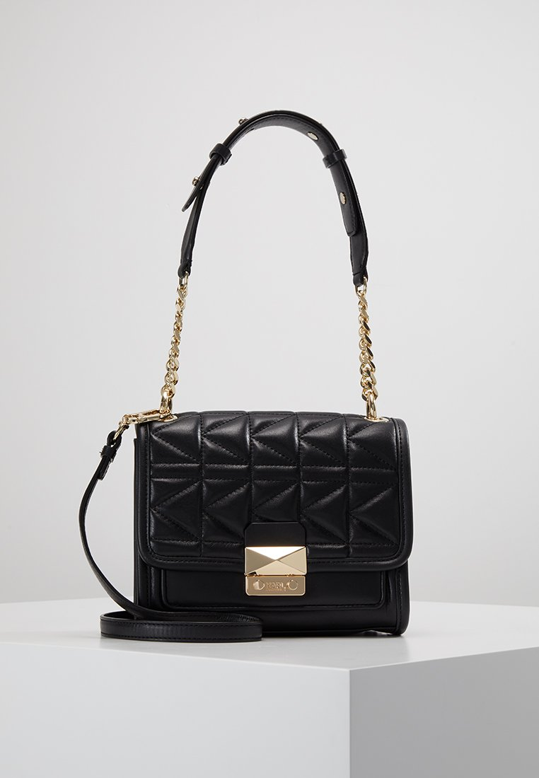 KARL LAGERFELD - KUILTED MINI HANDBAG - Handbag - black/gold