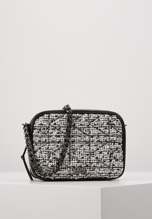 KUILTED TWEED CAMERA BAG - Olkalaukku - black/white