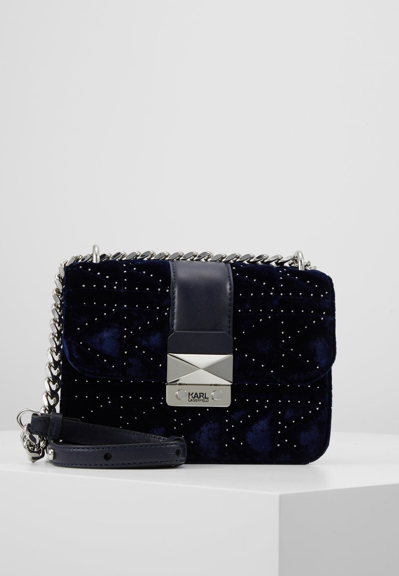 KARL LAGERFELD - KUILTED STUDS - Across body bag - midnight blue