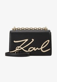 KARL LAGERFELD - SIGNATURE SMALL SHOULDERBAG - Taška s příčným popruhem - black/gold - 1
