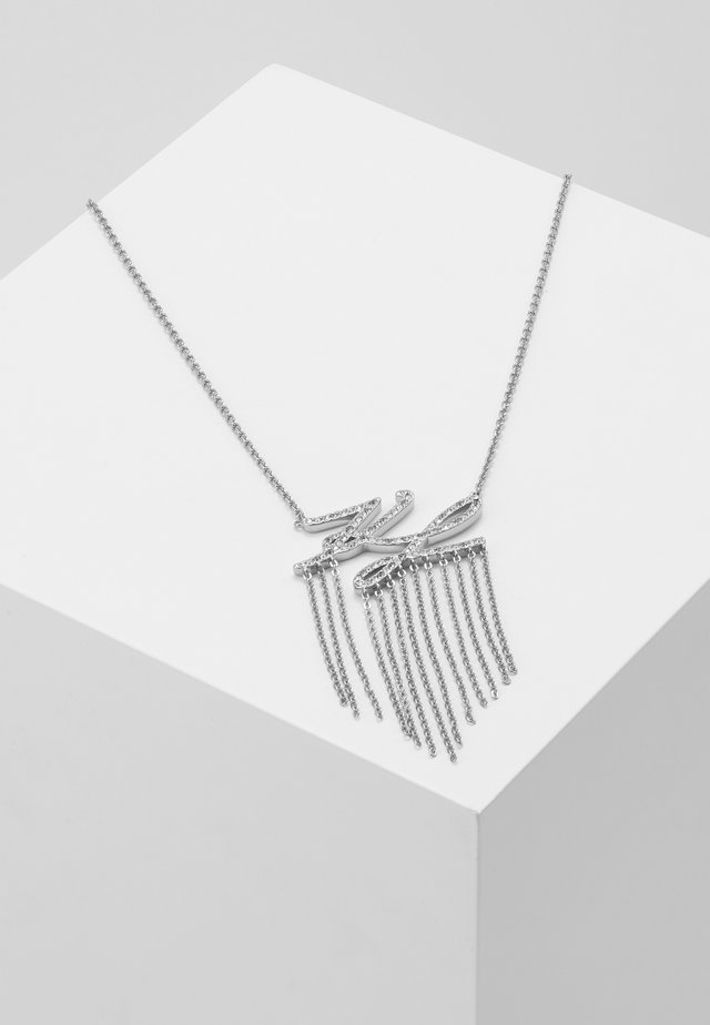 SCRIPT LOGO FRINGE PENDANT - Necklace - silver-coloured/gun metal