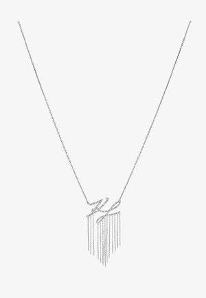 SCRIPT LOGO FRINGE PENDANT - Collier - silver-coloured/gun metal
