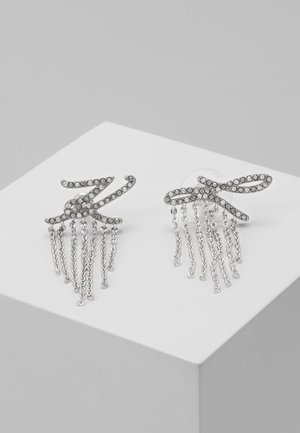 SCRIPT LOGO FRINGE - Earrings - silver-coloured/gun metal