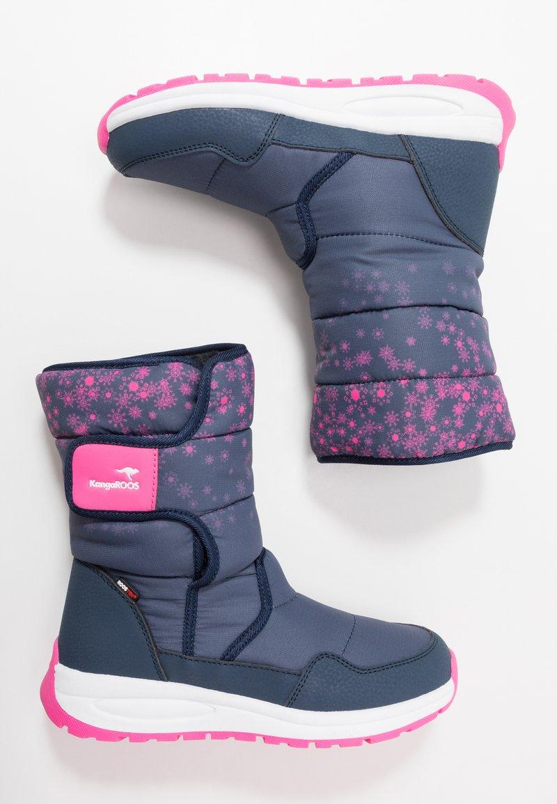 KangaROOS - K-FLUFF RTX - Zimní obuv - dark navy/daisy pink