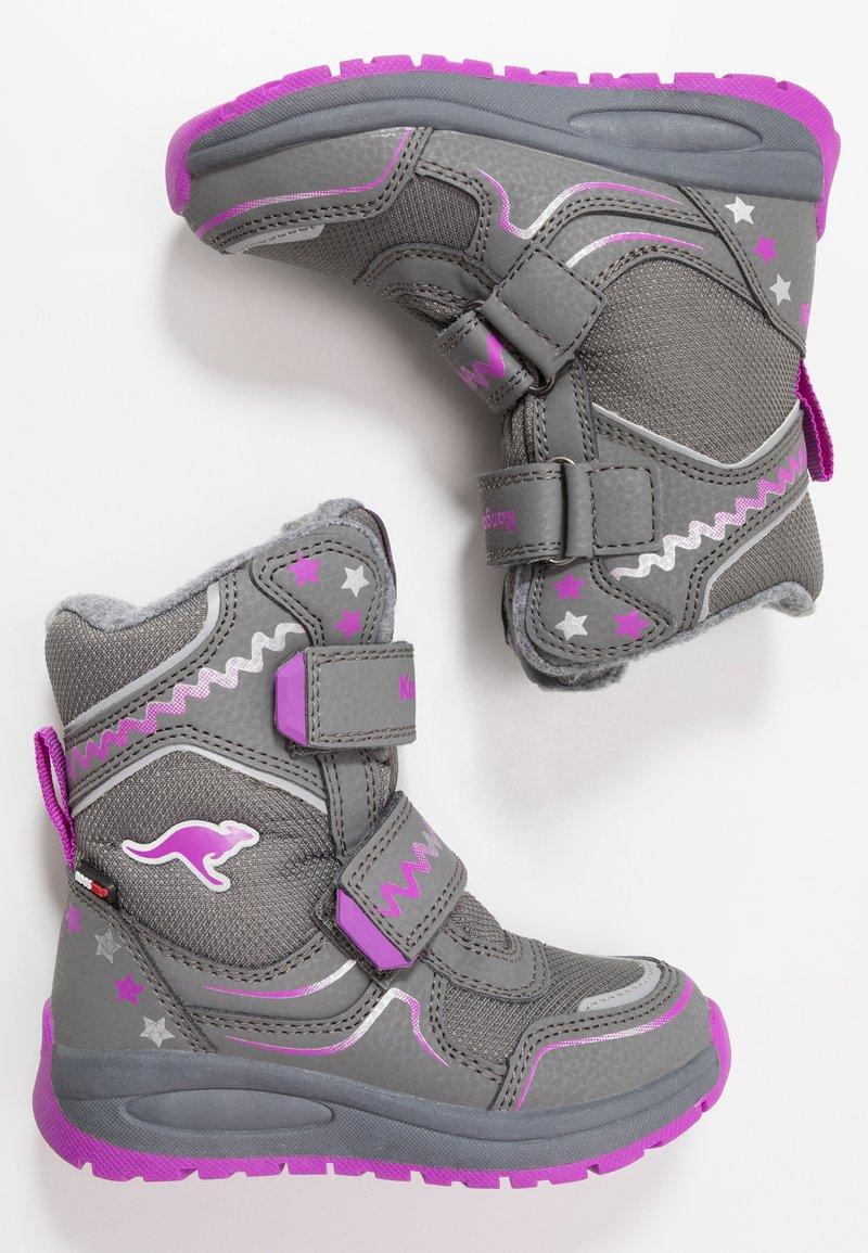 KangaROOS - K-PLUSH RTX - Zimní obuv - steel grey/purple