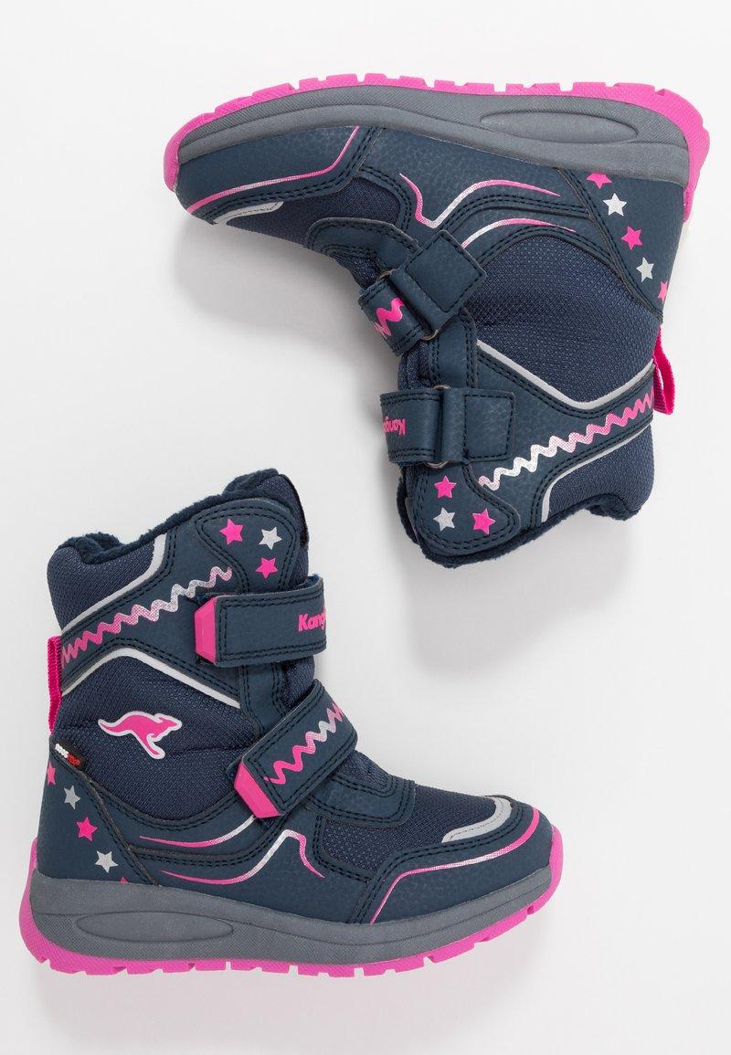 KangaROOS - K-PLUSH RTX - Zimní obuv - dark navy/daisy pink