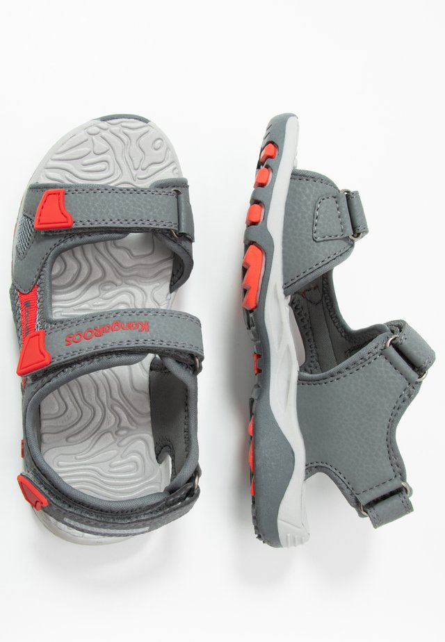 CELTIC - Walking sandals - steel grey/red