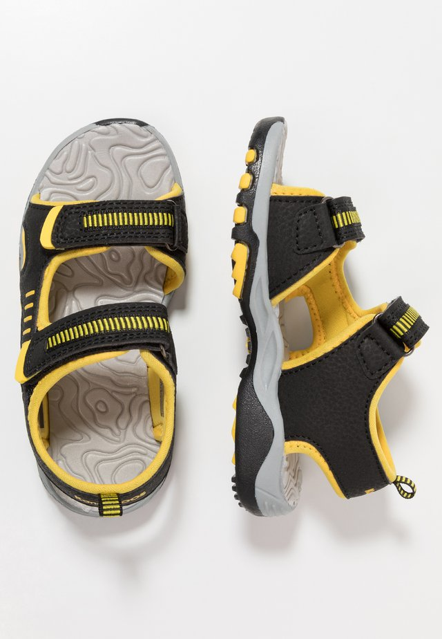 LOGAN - Walking sandals - jet black/sun yellow