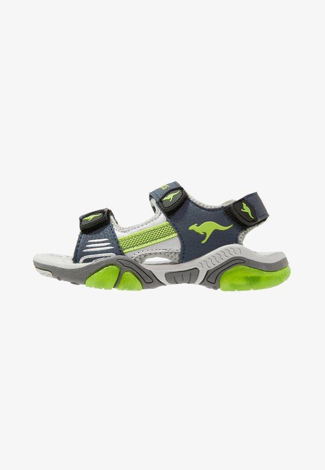 Walking sandals - dark navy/lime