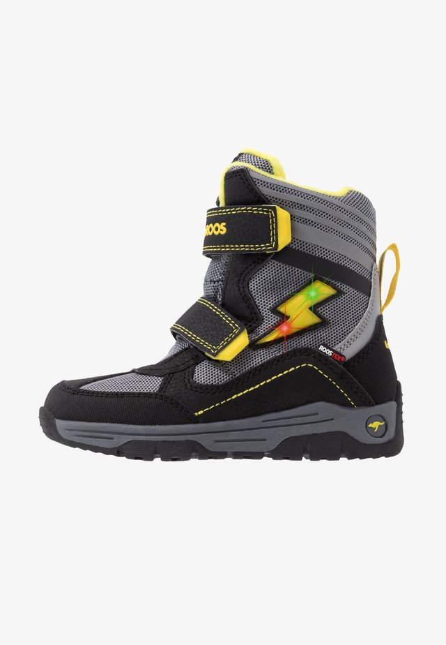 SNOW FLASH BOYS RTX - Talvisaappaat - jet black/sun yellow
