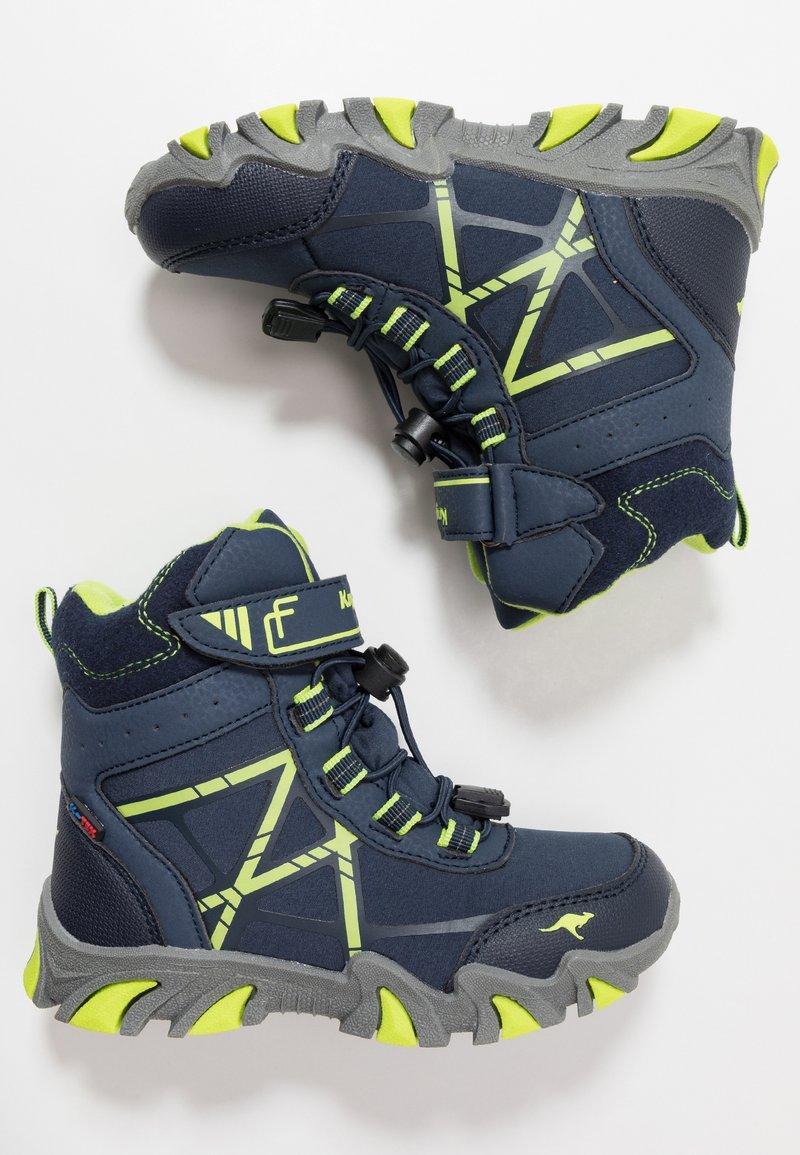 KangaROOS - RTX - Šněrovací vysoké boty - dark navy/lime