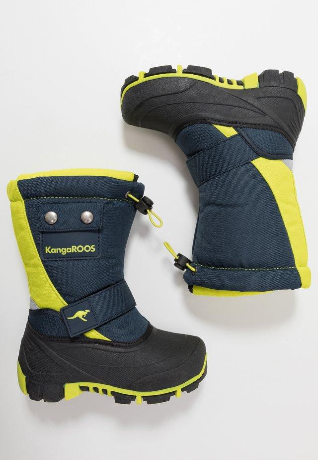 BEAN - Snowboots  - darkk navy/lime