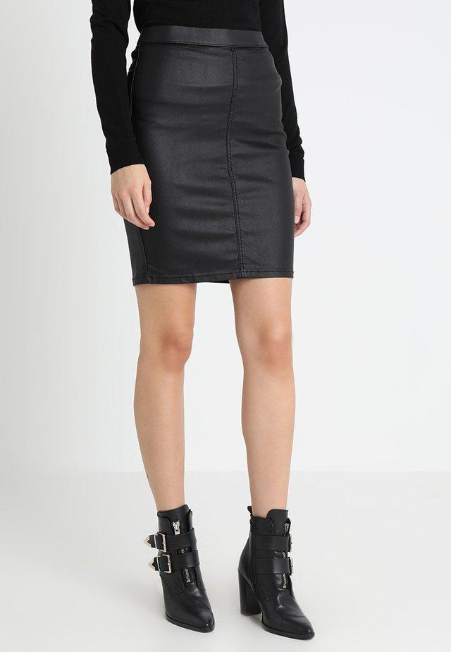 ADA COATED SKIRT - Pencil skirt - black deep