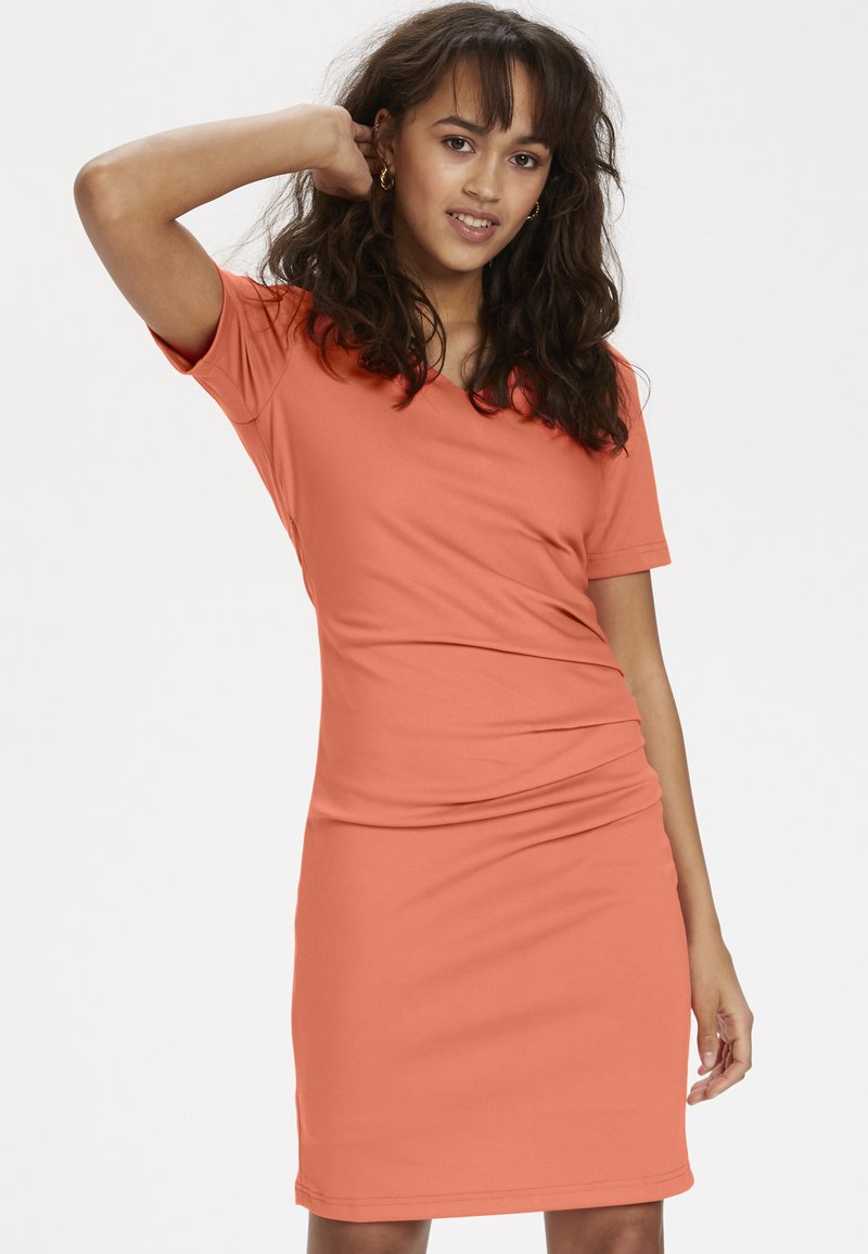 Kaffe - INDIA V-NECK - Tubino - living coral