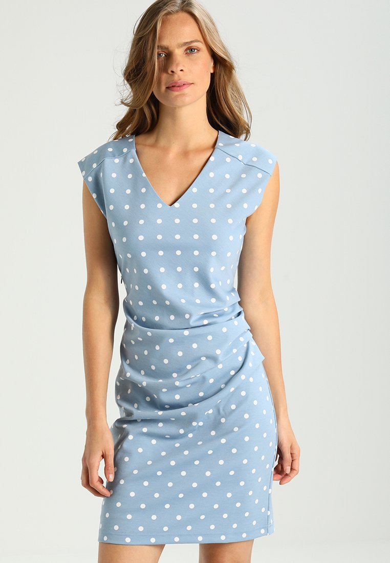 Kaffe neck Jersey India Blau DotsRobe Dress En V BrdhsQCotx