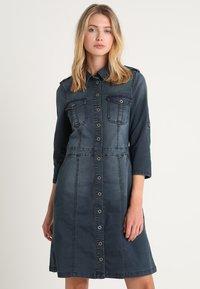 Cream - UNIFORM DRESS - Denim dress - royal navy blue - 0