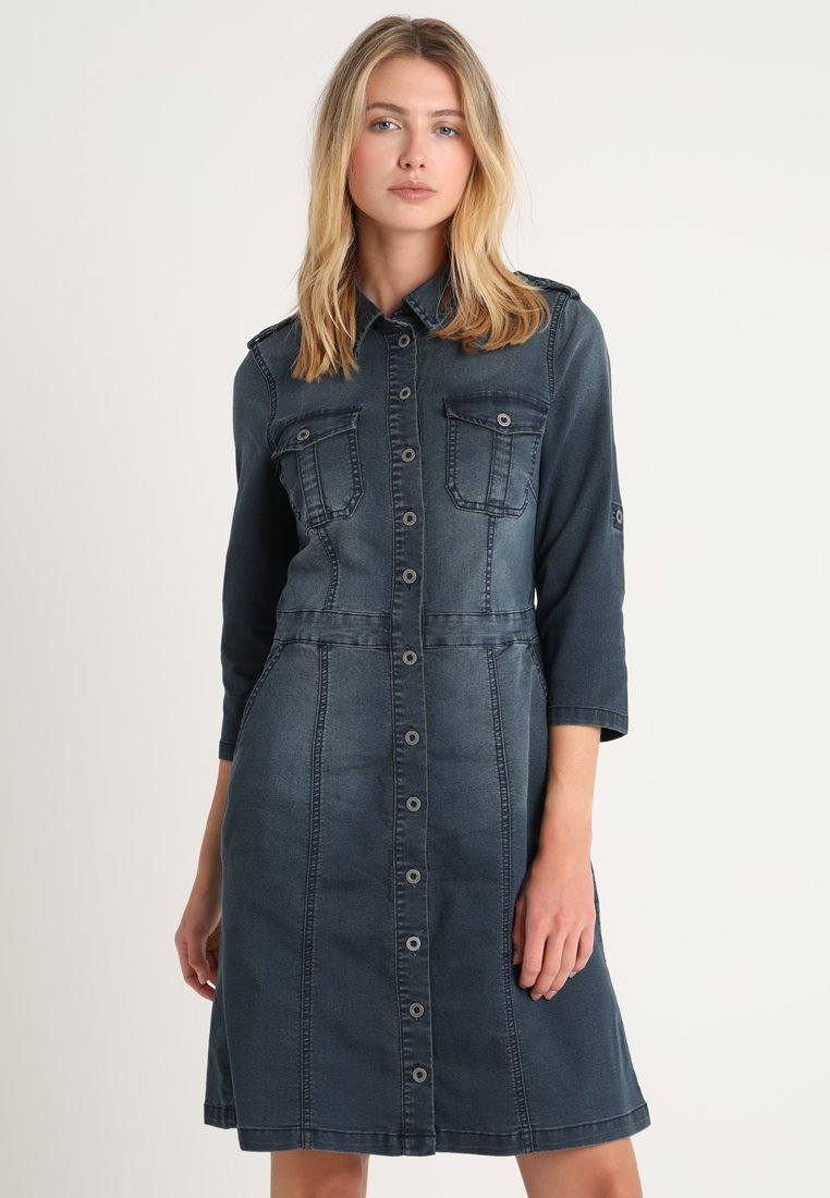 Cream - UNIFORM DRESS - Denim dress - royal navy blue
