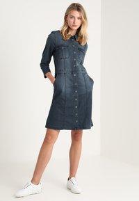 Cream - UNIFORM DRESS - Denim dress - royal navy blue - 1