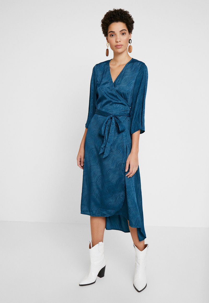 Kaffe - KABALTAZAR WRAP DRESS - Day dress - moroccan blue