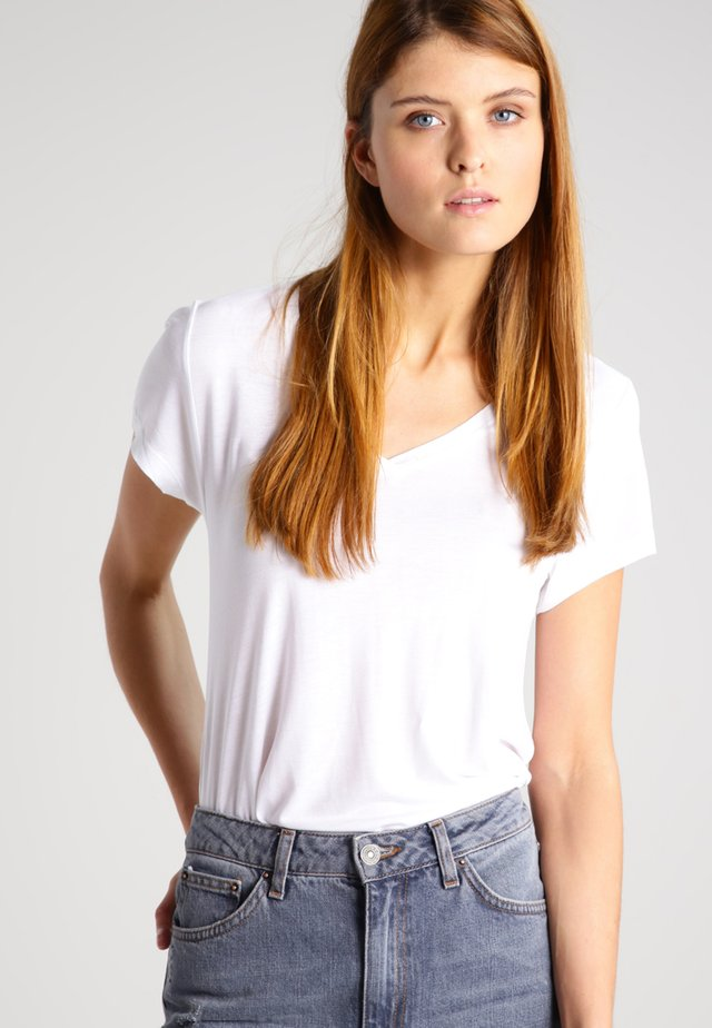 ANNA V NECK - T-shirt basique - optical white