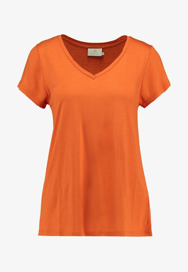 Kaffe ANNA V NECK - T-shirts - burnt orange